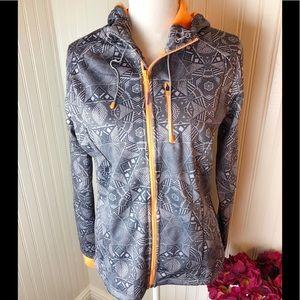 Mondetta gray and orange athletic zip up